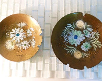Copper Enamel Ashtrays SASCHA BRASTOFF California Wild Flower - 2 included