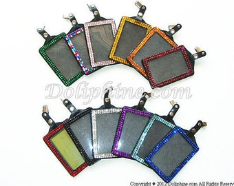 Bling - Both Side Rhinestones Vertical/ Horizontal ID Badge Holders with alligator clip