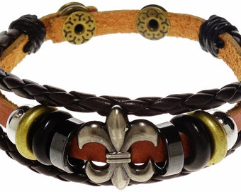 Bracelet - Black & Brown Leather Fleur De Lis Bracelet