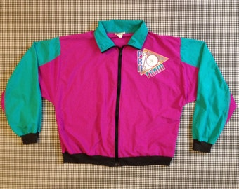 """1980's, cycling, warm up """"Pro Team"""" jacket, in magenta and teal, Women size Medium"""