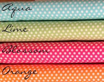 Fat Quarter Kiss Dots CX5518, Aqua, Lime, Blossom Pink, Orange Polka Dots by Michael Miller