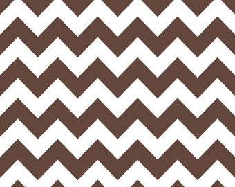 Brown/ White Small or Medium Chevron by Riley Blake - Yardage
