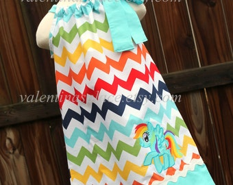 Adorable My little pony Rainbow Dash in Hallter Style or Pillowcase dress