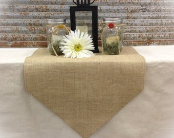 "Burlap Table Runner 12"", 14"" or 15"" wide w/pointed ends and FINISHED edges Wedding runner Home decor Holiday decorating"