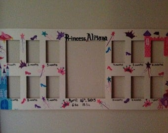 Baby first year frame. Custom baby frame/match your nursery or any theme. Princess baby frame. A picture a month. My first year. New baby
