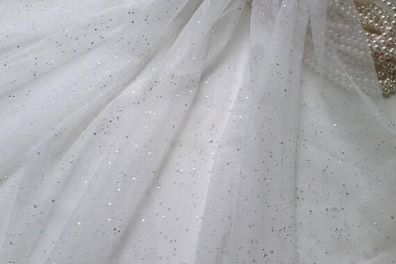 54 tulle glitter perline tessuto voile bianco per di makingplus