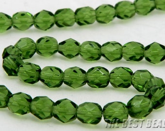 30pcs Green Faceted Round Fire Polished Czech Glass Beads 6mm