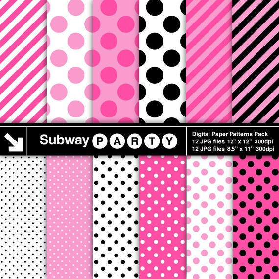 Minnie party digital papers hot pink white and black for Dots and stripes party theme