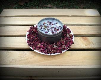 1 - 8oz Rose Petal Soy Candle Tin