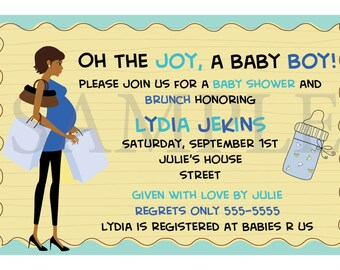 Baby Boy African American Baby Shower Invitations {multiple}