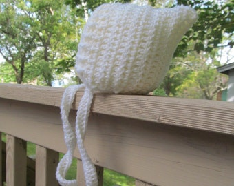 Crochet Bonnet Off White Gnome Pixie Hat, Photography Prop, Sizes Newborn to 24 Months