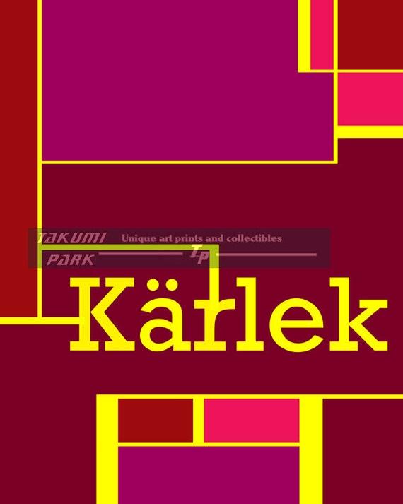 K 228 Rlek Art Print Swedish For Love Quote Art Word Art By