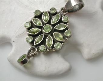 Sterling Silver Pendant. Peridot Charm