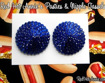 Sapphire Rhinestone Burlesque Pasties (Dark Blue)
