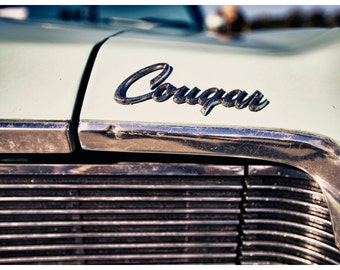 Car Parts Photography, Vintage Mercury Cougar Badging, Metallic Photographic Print