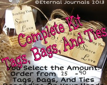 Select Amount 25 - 90 S'MORES Wedding Favor KITS Hand Stamped & Stained Sending You S'more Love Tags Ties Clear Bags DIY Wedding