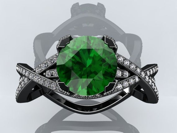Emerald Gemstone Engagement Rings Victorian inspired 14k Black