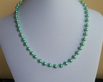 Mint Green Pearl Necklace and Earrings