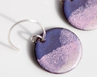 Pink and Purple, 3/4 Inch, Torch Fired, Copper Enamel Earrings, Handmade Sterling Silver Ear Wires, Feminine Earrings, Soft Colors, Dangle