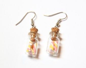 Glass bottle marshmallow earrings