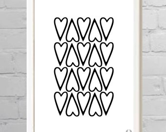 Up and Down Heart Shape Illustration Print