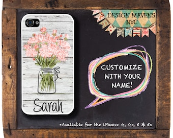 Mason Jar iPhone Case with Monogram, Personalized iPhone Case, Floral iPhone Case, iPhone 4, iPhone 5, iPhone 5s, iPhone 5c, iPhone 6