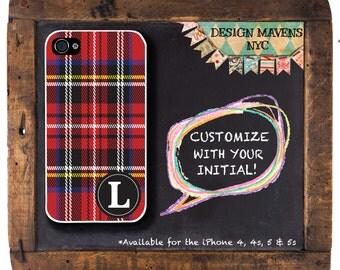 Red Tartan iPhone Case, Monogram iPhone Case, Personalized iPhone Case, iPhone 4, 4s, iPhone 5, 5s, 5c, iPhone 6, 6 Plus, Phone Case