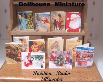 dollhouse christmas cards x 12 miniature 12th scale victorian inspired designs lakeland artist