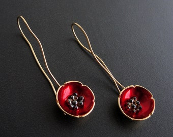 Inspirational mothers day gift, flower earrings, poppy earrings, enamel jewelry, gift for women, flower earrings, floral statement earrings
