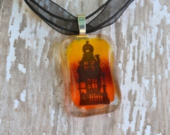 Halloween Pendant  -  FUSED GLASS JEWELRY - Glass jewelry - Glass Necklace - Haunted House pendant