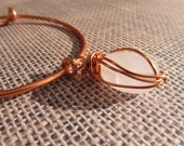 Hand Forged Copper Wire Bangle with Wire Wrapped Rose Quartz