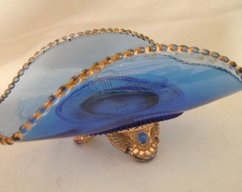 Cobalt Blue and Gold Beading Glass Bowl