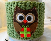 Green Christmas Present Owl Coffee Cup Cozy - Christmas Cozy, Cozy, Green, Christmas Owl, Present, Christmas Gift