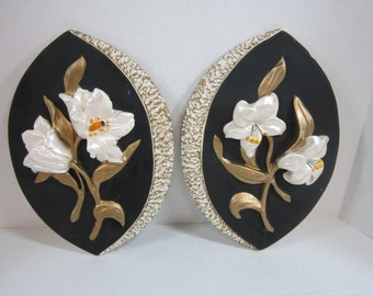 Lily's Wall Plaques Pair Of Black White And Gold In Color Ceramic Flower Decor FREE SHIP