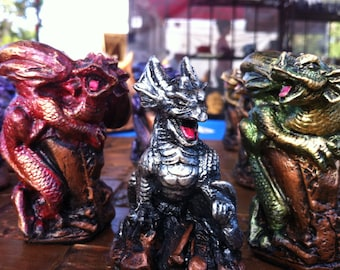 Wee Surly Dragons Chess Set. Customisable colours (pieces only no board)