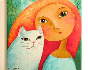 Girl and Cat, 20 x 20 cm, digital printing on canvas