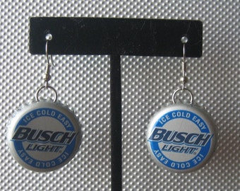 Recycled Busch Light Upcycled Bottlecap Earrings