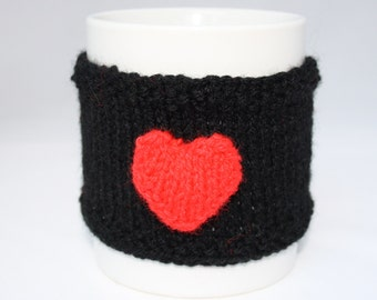 Hand Knitted Black with Red Heart Reusable Cup Cuff // One Size // Cup Cuff // Gifts for Her // Stocking Stuffers