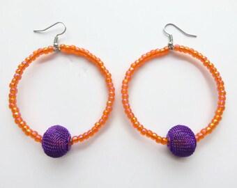Orange and Purple Glass Beaded Hoop Earrings - Handmade Earrings - Homemade Earrings - Handcrafted