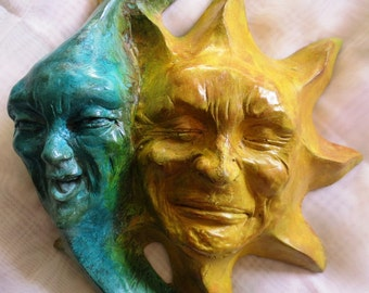 Outdoor Indoor Sun Moon Cast Stone Wall Art Mask with Personality by Claybraven