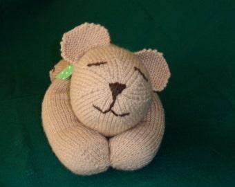 Hand Knit Sleepy Teddy Bear