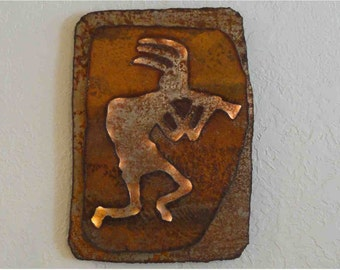 "Kokopelli lighted panel made-to-order - 17""x12"" - rustic sheet metal wall art with battery operated lighting on a timer"