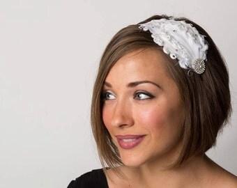 Dove - White Headband - Flapper Girl Headband - Bridal Headband - Bridesmaid Headpiece - Crystal Headband - Christmas Headband - Headband