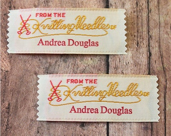 Labels for Knitters, Woven Clothing Labels, Knitting Labels, From The Knitting Needles of imprinted with 1 line of text