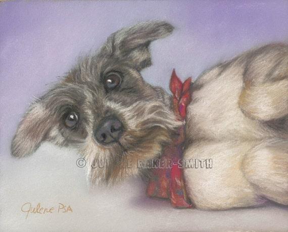 Gray Schnauzer with Red Bandana Dog Art Print