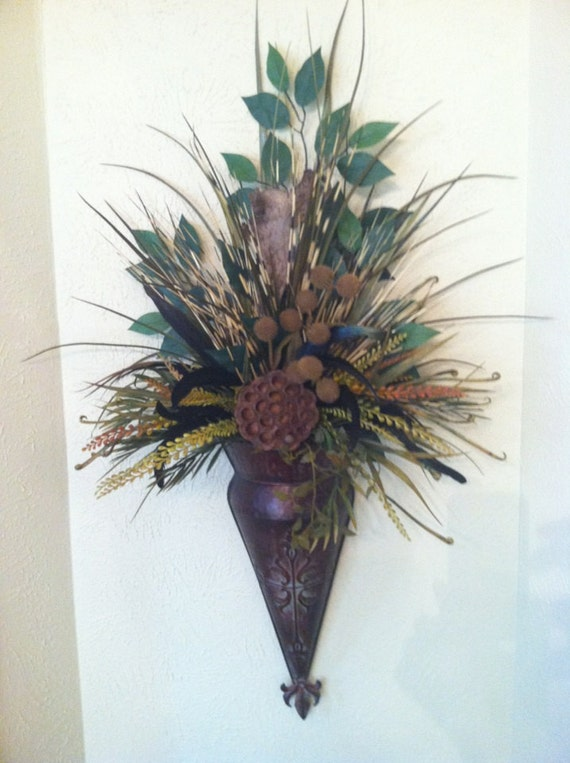 Wall Sconce For Dried Flowers : Single Wall Sconce Feather Wall Pocket Dried by GreatwoodFlorals