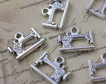 10 Sewing Machine Charms Pendants Antique Silver Double Sided 16 x 18mm