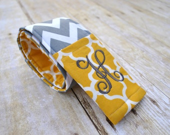 Monogrammed camera strap cover (gray chevron/mustard quatrefoil)