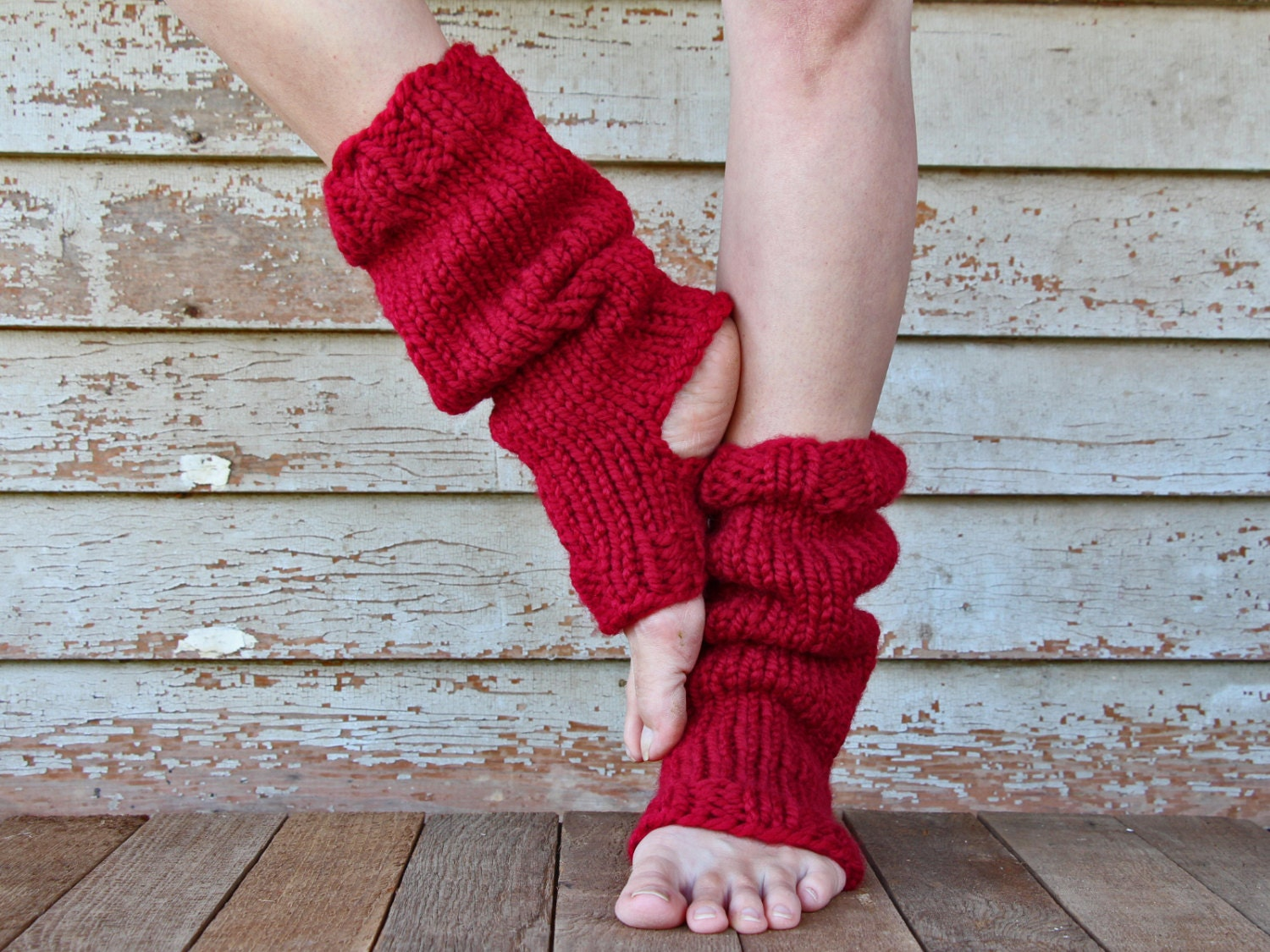 Leg Warmers Knitting Pattern In The Round : Yoga Sock Leg Warmer Knitting Pattern RELAXATION a set of