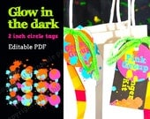 """Glow in the Dark Party Neon Color 2"""" circle labels - editable PDF - add your own text"""